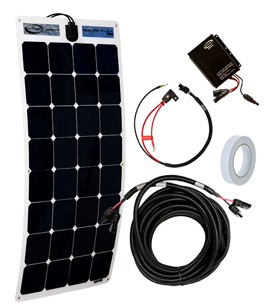 Fleet 100 watt solar kit components