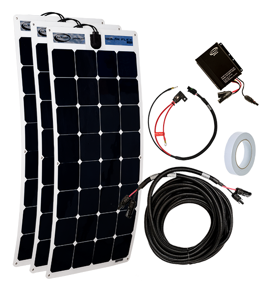 Fleet 300 watt solar kit components