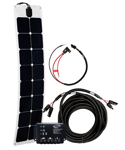 Fleet 50 watt solar kit components