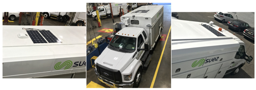 three images of solar flex panels on Suez trucks